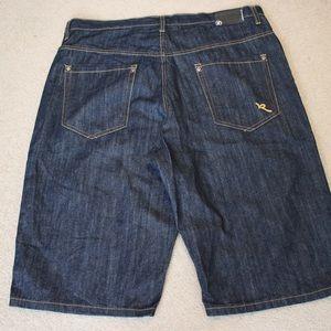 ROCAWEAR Dark Denim Jean Shorts Baggy Skater Hip H